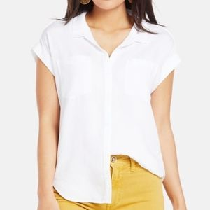 Cloth & Stone | White Cross Back Button Front Top